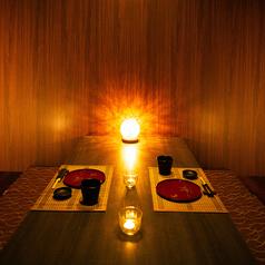 写真は2~4名様完全個室★少人数でも個室へご案内♪デートやお友達との大事な飲み会にも大活躍!落ち着いた雰囲気でお食事をお楽しみいただけます!