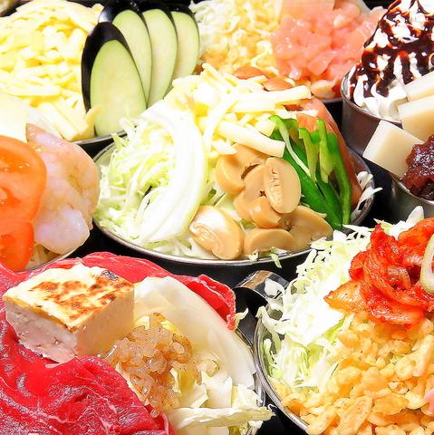 約40種(もんじゃなど)120分食べ放題&ALLアルコール[飲放]コース3300円(税込)!!デザート付き♪