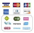 各種カード/交通系IC対応。上記のマークのあるカードと交通系ICのお支払いに対応しています。