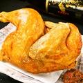 料理メニュー写真仕込み丸一日!名物 若鶏の半身揚(秘伝の辛味噌添え)