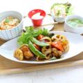 料理メニュー写真鶏唐と温野菜の黒酢あん