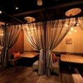 ★コンパ・飲み会に★ソファータイプの個室。入口は¥オシャレなカーテン付き。