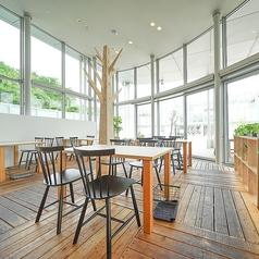 テーブルはお繋ぎすることも可能です。ガラス張りの窓からは外の景色を見ることができ、開放的な雰囲気の中お食事をお愉しみいただけます。