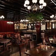 ヨーロッパのアンティクが演出する本場のビアカフェ空間