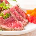 『自家製ローストビーフ』や『牛リブステーキ』などお肉料理も多数ご用意あり!肉汁溢れるジューシーな味わいをお愉しみ下さい。