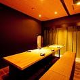 【横笛】落ち着いた和のテーブル個室。竹林がアクセント