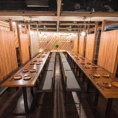 広々とした団体様専用個室は最大60名様までご利用可能◎お席は大人数でのご宴会・2次会・飲み会・パーティーなど様々なシーンにご対応可能◎