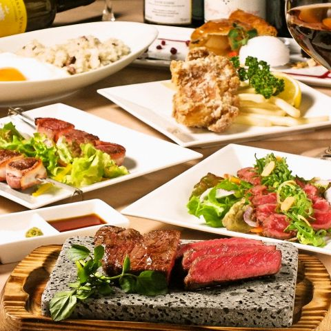 【目黒deステーキコース】 お料理全6品!⇒3500円 【2時間飲み放題+1500円】