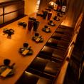 柔らかい照明が心地良い空間を提供♪半個室フロアを貸切でご利用いただけますので、大人数様のご宴会も大歓迎です!