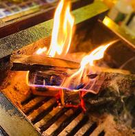 話題の薪焼き!薪を使用した炙り焼きで♪