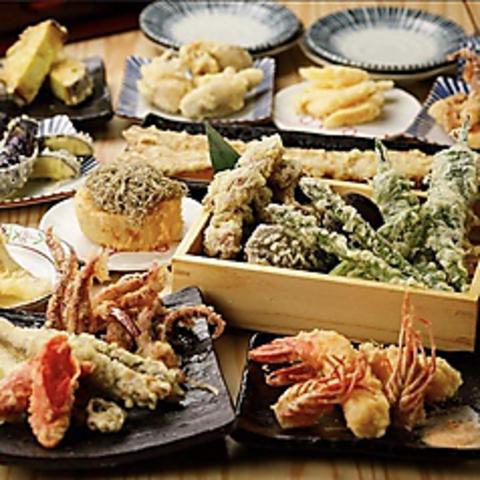 【日〜木限定お気軽当日コース】前菜・天ぷら等9品+2h飲み放題 3500円