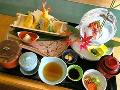 天ぷら青竹盛膳(刺身付き)