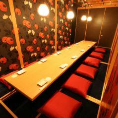 10名様~12名様までの大人数でのご宴会にも対応が可能な完全個室のお席ご用意しております。2名様以上のご宴会におすすめの飲み放題付のコースを多数ご用意。和食と日本酒などのお酒がお楽しみ頂けます。完全個室のお席でゆったりとお寛ぎしながらお楽しみ下さい。※写真はイメージです。