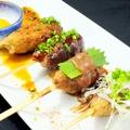 料理メニュー写真はまゆう鶏 自家製つくね(タレ・みそダレ・梅肉)