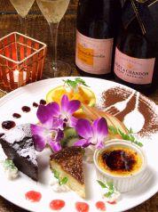 料理メニュー写真自家製ガトーショコラ、チーズケーキ、クリームブリュレ