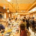 店内中央のテーブル席は最大10名様までお座り頂けます。【もつ鍋 前田屋】