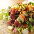 料理メニュー写真さっぱり魚介のパリパリサラダ~自家製醤油ドレッシング~