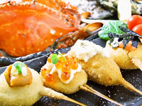 【イチオシ】鹿児島県産もち豚の唐鍋と創作串揚げコース3000円(税抜)