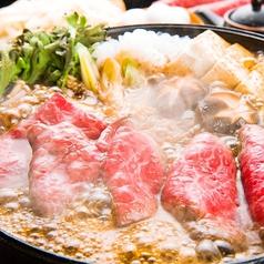 【厳選牛&旨豚すき焼き 2400円(約2名様)税込】かつおだしの効いた本格割下 関東風のすき焼き。