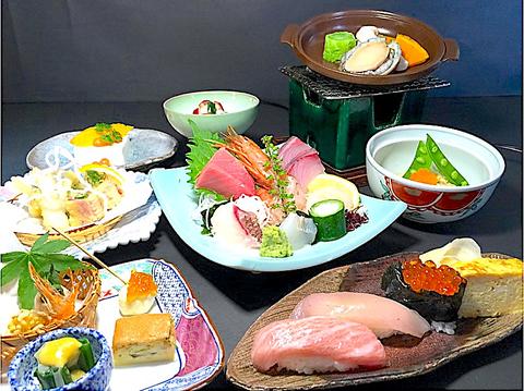 【白波コース】旬の食材を使った造里・焼物・茶碗蒸し・揚物・甘味付 8品◎4500円(税込)