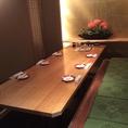 完全個室席4名様~10名様用。会社仲間やサークル仲間とのパーティーに最適☆お得な飲み放題付きコース料理は多数ございます。