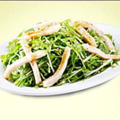 水菜と蒸し鶏のサラダ