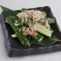 料理メニュー写真たたき胡瓜の梅和え
