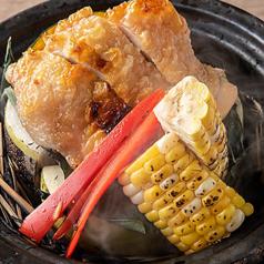 播州百日鶏の藁焼き