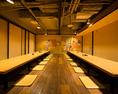 25~44名様用掘りごたつ個室宴会場。真ん中に間仕切りを入れて22名様用個室2部屋にもなります。