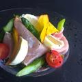 料理メニュー写真生ハムと旬食材の彩りサラダ
