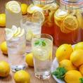 瀬戸内レモンを使った自家製レモンシロップで作るオリジナルドリンクが大人気!!レモンサワ―は4種類ご用意!!時間無制限飲み放題ならいくらでも飲めちゃう!