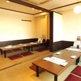 半個室タイプのお部屋。最大24名様まで収容可能です。歓送迎会など各種宴会にご利用下さい。
