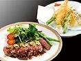 【おすすめメニュー】さっぱりと仕上げたステーキと海鮮も楽しめる【わさびステーキと天ぷら御膳】