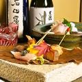料理メニュー写真季節の前菜、お造りと日本酒黒龍限定酒「石田屋」と「しずく」