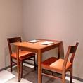 2階 2名様用テーブル席 お誕生日や記念日のご利用にもおすすめです。