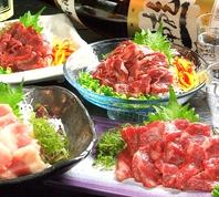 青森県産馬肉刺し、肉タタキ
