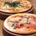 本格ピザ窯で焼くピザも食べ放題に♪モッツアレラとバジルのマルゲリータ・明太子とじゃがいものもちもちピッツァの2種類をご用意しております!