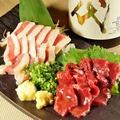 料理メニュー写真熊本直送馬刺し2種盛り