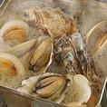 広島県産の牡蠣と千葉県産の白ハマグリ(ホンビノス貝)のガンガン蒸し!新鮮な海鮮メニューが充実♪