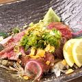 料理メニュー写真和牛モモ肉 レア炙りステーキ