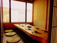 入口右手にございます完全個室のお席です。お写真は8名様までの完全個室の席です。