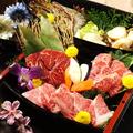 料理メニュー写真豪華!牛・海鮮舟盛りセット(2~3人前)