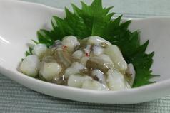 料理メニュー写真たこわさ/バターコーン/白菜キムチ/さきイカの天ぷら/とり皮ポン酢/塩だれキャベツ