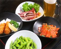 料理メニュー写真ほろ酔いセット (枝豆+料理長の気まぐれ3品+生中)