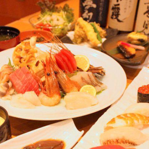 2名〜OK!! 8品 季節の鮨勘特別コース 120分飲み放題付き5000円(税込5500円)