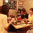 テーブル席でのフォンデュ女子会