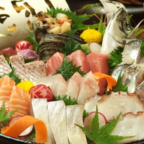 瀬戸内鮮魚が自慢!お造り豪快盛り1980円は、地元でも県外の方にも大人気!