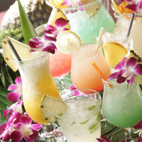 ハワイならではのカクテルメニューも豊富にご用意しております!常夏の雰囲気をたっぷりご堪能いただけます。見た目も可愛いので女子会などで大好評です♪