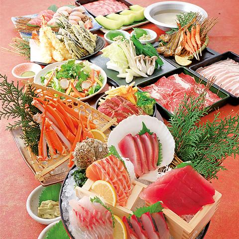 【極の宴コース】生ビール含む3H飲放+刺身5種&牛ヒレステーキ又はしゃぶしゃぶ&寿司等9品6000円