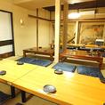 2階には少人数から大人数まで対応可能な個室多数。会社の宴会などはやっぱり全員を見渡せるのが嬉しい!テーブル配置などお気軽に調整する事ができます!